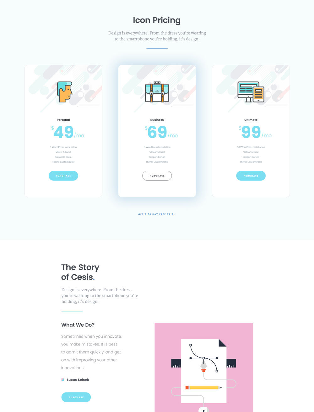 Cesis flat style One Page Template
