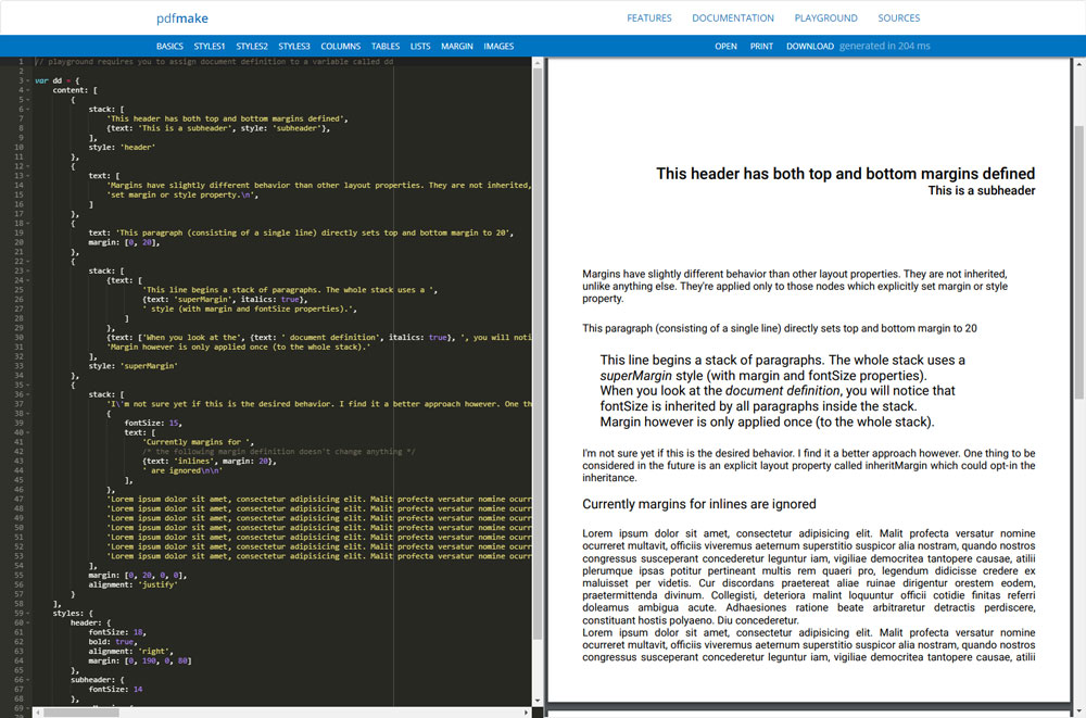 PDFMAKE - ClientServer Side PDF Printing in Pure JavaScript