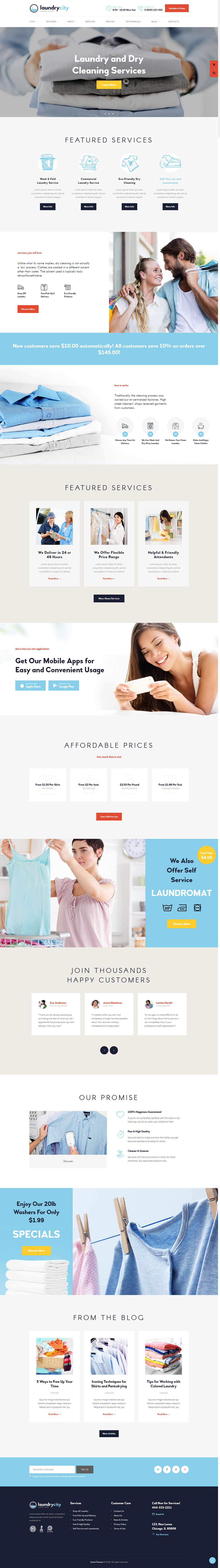 Laundry City - Dry Cleaning & Washing Services WordPress Theme