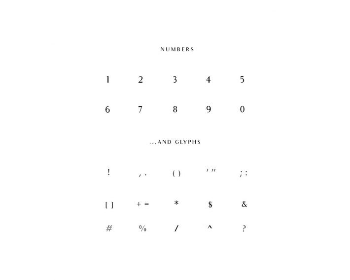 Audrey Font Numbers and Glyphs
