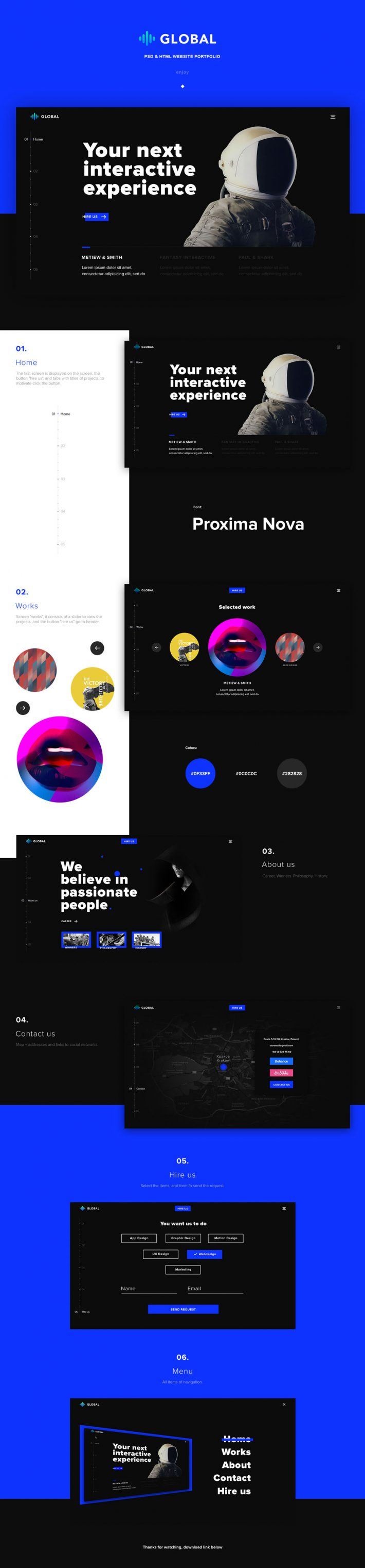 Global – Free One Page Portfolio PSD and HTML Template